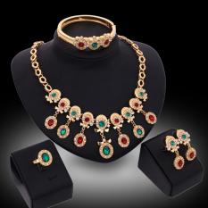 Top 10 Panjang Kristal Mewah Berlapis Emas Berlian Imitasi Kalung And Anting Anting Gelang Cincin Set Perhiasan Online