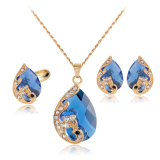 Jual Rich Long Gold Plated Crystal Necklace Earrings Jewelry Sets For Women S Vintage Wedding Party Intl Baru