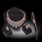 Toko Kaya Panjang Berlapis Emas Kristal Berlian Imitasi Kalung And Anting Set Perhiasan Terdekat