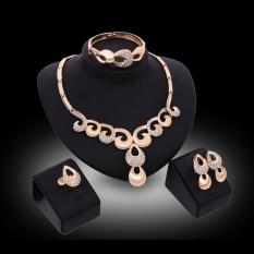 Harga Kaya Panjang Berlapis Emas Berlian Imitasi Kalung And Anting Set Perhiasan Yang Murah Dan Bagus