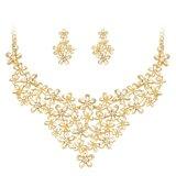 Jual Emas Plated Wanita S Vintage Pernikahan Party Rhinestone Kalung Anting Anting Perhiasan Set Intl Grosir