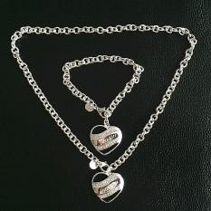 Beli Panjang Kaya Wanita Pesta Pernikahan Vintage Hati Tajam Berlapis Perak Kalung And Gelang Perhiasan Set Oem