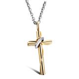 Spesifikasi Richapex Stainless Steel Gold Women S Fashion Lingering Love Cross Kalung Pendant Terbaik
