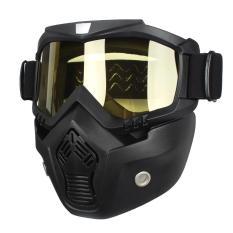 Mengendarai Modular Dilepas Wajah Masker Kacamata Perisai untuk Sepeda Motor Helm Kuning-Intl