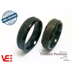 Ring Cincin Premium Couple / Tunangan / Nikah / Pasangan / Single Titanium Butiran Pasir- Black - RT05black