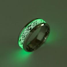 Ring Luminous Dragon Cincin Stainless Steel Rings Glow In The Dark Pria dan Cincin Wanita Perhiasan-Intl