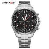 Promo Ristos Cool Stainless Steel Tali Round Bisnis Sport Quartz Watch Untuk Pria Fashion 9325 Internasional Longbo Terbaru