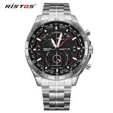 Beli Ristos Cool Stainless Steel Tali Round Bisnis Sport Quartz Watch Untuk Pria Fashion 9325 Internasional Longbo Murah