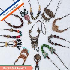 RM-Kalung Wanita paket isi 12 pcs bahan kayu