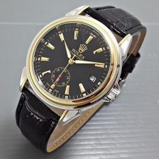Rolex Oyster Leather Black Silver Gold (Jam Tangan Pria) - J3emko