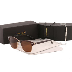 Ronsou Semi Rimless Horn Rimmed Polarized Sunglasses Wanita MenRetro Sun Glasses (Brown Frame/Lensa Kopi)-Intl