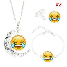 Beli Rorychen Women Fashion Perak Berlapis Dengan Cute Emoji Moon Kalung Gelang Anting Perhiasan Untuk Wanita Hadiah Liontin Kalung Perhiasan Intl Seken