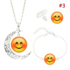 Rorychen Women Fashion Perak Berlapis Dengan Cute Emoji Moon Kalung Gelang Anting Perhiasan Untuk Wanita Hadiah Liontin Kalung Perhiasan Intl Di Tiongkok