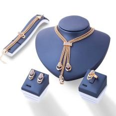 Rose Warna Emas Crystal Kalung Anting Gelang Cincin Set Rhinestone Baru Sederhana Gaun Pesta Jewelry Set untuk Wanita-Intl