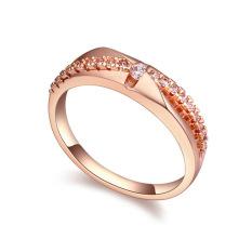 Rose Gold Disepuh AAA CZ Batu Cinta Selamanya Cincin Perhiasan untuk Wanita (Clear)