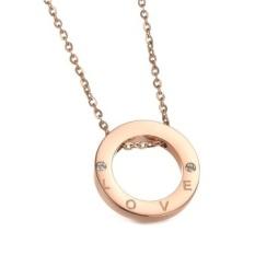 Rose Emas Plated Cincin dengan Surat CINTA Pendant Necklece untuk Wanita-Intl