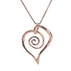 Mawar Emas Plated Sterling Perak Bentuk Bebas Spiral Jantung Kalung Liontin-Internasional