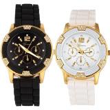 Jual Mawar Emas Imitasi Chronograph Arloji Silikon With Berlian Imitasi Hitam Putih Murah Hong Kong Sar Tiongkok
