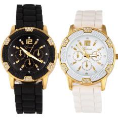Mawar Emas Imitasi Chronograph Arloji Silikon With Berlian Imitasi Hitam Putih Terbaru