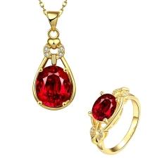 Ruby Ball Desain Kalung Cincin Wanita Perhiasan Set (Rose Gold Warna)
