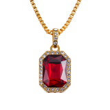 Jual Cepat Ruby Pendant 18K Gold Plated Necklace Jewelry And Fashion Collocation Intl