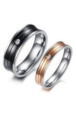 S & F Titanium Steel AAA Cincin Pasangan Zirkonia (Hitam dan Mawar Emas)