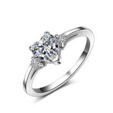 S925 Enam Cakar Asli Cinta Simulasi Cincin Berlian Sterling Perak