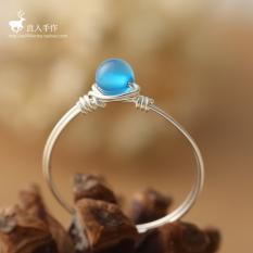 S925 Jepang atau Korea Selatan Siswi Biru Batu Akik Kecil Cincin Jari Telunjuk Cincin