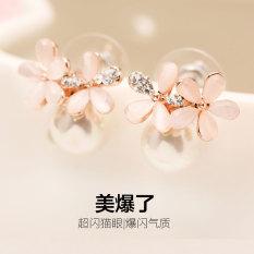 Jual S925 Korea Perempuan Lima Bunga Perak Opal Akupunktur Telinga Anting Anting Termurah