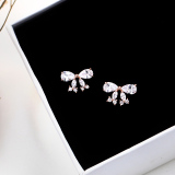S925 Perempuan Elegan Anti Alergi Busur Anting Sterling Silver Anting Murah