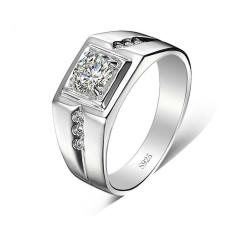 S925 Pria Bisa Digerakkan Bagian Buka Tutup Berlapis Platinum Cincin Kawin Sterling Perak Cincin