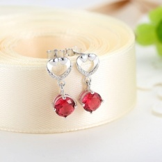 S925 Silver Earrings Female Love Berbentuk Korea Minimalis Temperamen Fashion Sintetis Anting Kristal Merah-Intl