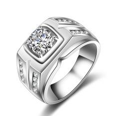S925 Sterling Perak Pria Cincin Berlian