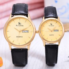 Diskon Saint Costie Jam Tangan Couple Body Gold Gold Dial Black Leather Band Sc Jk G 8009Gl Gg
