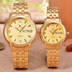 Miliki Segera Saint Costie Jam Tangan Pria Wanita Body Gold Gold Dial Stainless Steel Band Sc Rt 8006Gl T H Gg Gold Couple
