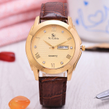 Promo Saint Costie Jam Tangan Pria Body Gold Gold Dial Brown Leather Band Sc Jk 8002G Gg Akhir Tahun