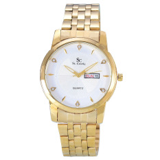 Miliki Segera Saint Costie Jam Tangan Pria Body Gold White Dial Stainless Steel Band Sc Rt 5126G Gw