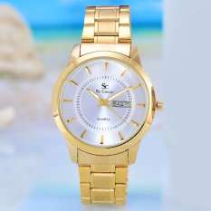 Saint Costie Jam Tangan Pria Body Gold White Dial Stainless Stell Band Sc 5161 G Gw Original