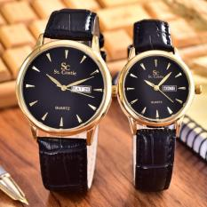 Jual Saint Costie Jam Tangan Pria Wanita Body Gold Black Dial Black Leather Band Sc Jk 8009Gl Gb Couple Antik