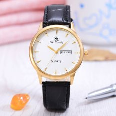 Harga Saint Costie Jam Tangan Wanita Jam Tangan Wanita Body Gold White Dial Black Leather Band Sc Rk 8009L Gw Online
