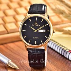 Saint Costie Original Brand, Jam Tangan Pria - Body Gold - Black Dial -Black Leather Strap - SC-JK-8009G-T/H-GB-Black Leather