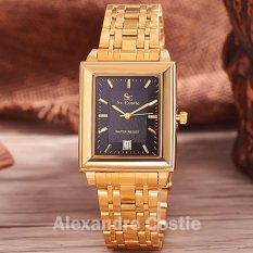 Harga Saint Costie Original Brand Jam Tangan Pria Body Gold Black Dial Stainless Stell Band Sc Rt 244G Tgl Gb Gold Baru Murah