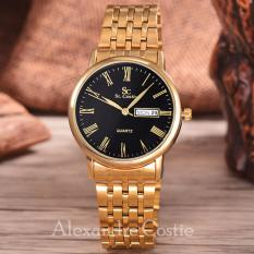 Saint Costie  Original Brand, Jam Tangan Pria - Body Gold - Black Dial - Stainless Steel Band - SC-RT-8027A-G-T/H-GB-GOLD