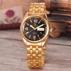 Beli Saint Costie Original Brand Jam Tangan Pria Body Gold Black Dial Stainless Stell Band Sc Rt 5236A G Gb Th Pakai Kartu Kredit