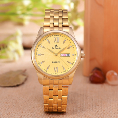 Saint Costie Original Brand - Jam Tangan Pria - Body Gold - Gold Dial - Stainless Steel Band - SC-RT-8005G-T/H-GG-GOLD