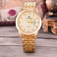 Harga Saint Costie Original Brand Jam Tangan Pria Body Gold Gold Dial Stainless Stell Band Sc Rt 8031G Th Gg Gold Murah