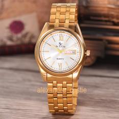 Harga Saint Costie Original Brand Jam Tangan Pria Body Gold White Dial Stainless Stell Band Sc Rt 5236B G Gw Th Fullset Murah