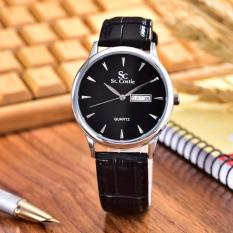 Saint Costie  Original Brand - Jam Tangan Pria - Body Silver - Black Dial – Black Leather Strap - SC-JK-8009G-T/H-SB-Black Leather