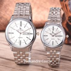 Diskon Saint Costie Original Brand Jam Tangan Pria Dan Wanita Body Silver White Dial Stainless Stell Band Sc Rt 8023A Gl T H Sw Pnp Couple Branded