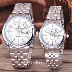 Saint Costie  Original Brand, Jam Tangan Pria dan Wanita - Body Silver - White Dial - Stainless Stell Band - SC-RT-8023B-GL-T/H-SW-PNP-COUPLE